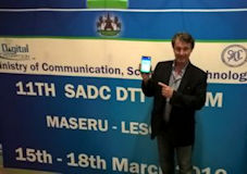 Dr Les Sabel launching the phone in Lesotho